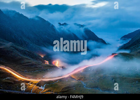 Night in Transfagarasan Road in Romania region of Transilvania - Stock Photo