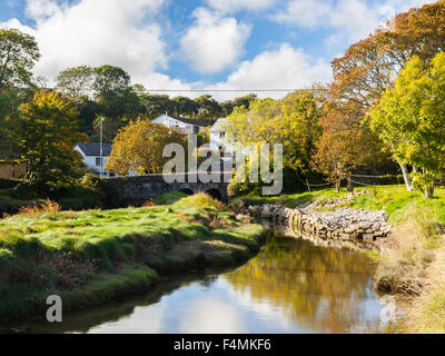 The picturesque village of Gweek located at the head of the Helford River Cornwall England UK Europe - Stock Photo