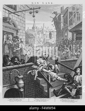 GIN LANE engraving by William Hogarth about 1750 - Stock Photo