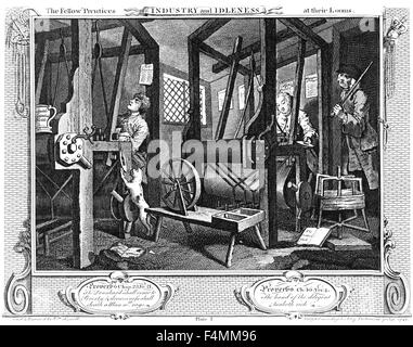 INDUSTRY AND IDLENESS Plate 1 - Spitalifield Weavers at Work. Engraving by William Hogarth - Stock Photo