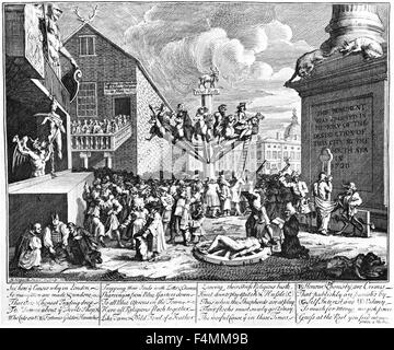 SOUTH SEA SCHEME as engraved by William Hogarth - Stock Photo