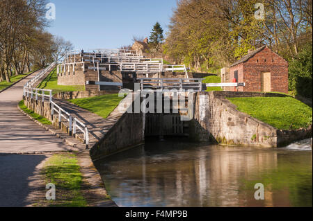 Scenic sunny spring view, looking up the flight of lock gates - Bingley Five Rise Locks, Leeds and Liverpool Canal, - Stock Photo