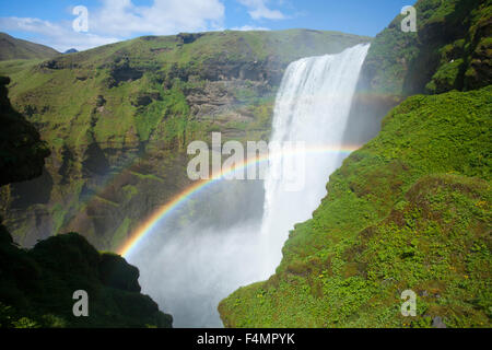 Double rainbow in 60m-high Skogafoss waterfall, Skogar, Sudhurland, Iceland. - Stock Photo