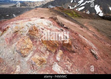 Volcanic mineral deposits at Landmannalaugar, Sudhurland, Iceland. - Stock Photo