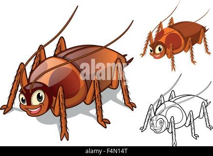 Detailed Cockroach Cartoon Character with Flat Design and Line Art Black and White Version - Stock Photo