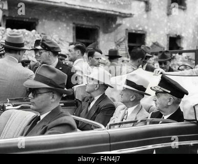 President Harry Truman, Secretary of State James Byrnes, and Admiral William Leahy visit to Berlin before the opening - Stock Photo