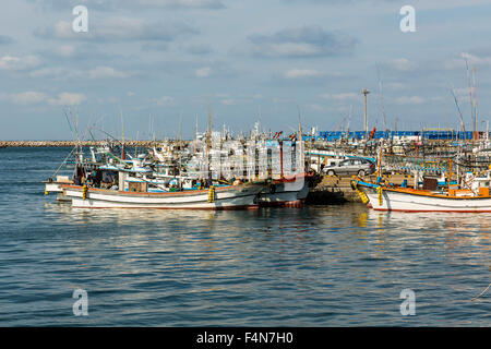 Jeju Island Squid Fishing Boats, South Korea, Asia - Stock Photo