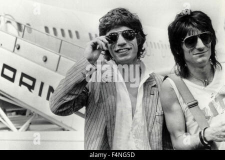 Mick Jagger and Ron Wood, Rolling Stones, musicians, UK - Stock Photo