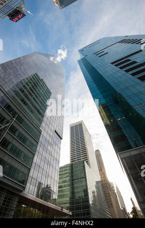 Midtown skyscrapers on 42nd St in New York City USA - Stock Photo