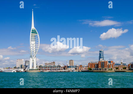 Spinnaker Tower overlooking the Solent at Gunwharf Quays, Portsmouth Harbour, Hampshire, England. - Stock Photo