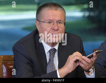 Moscow Region, Russia. 21st Oct, 2015. Russia's Economic Development Minister Alexei Ulyukayev attends a meeting - Stock Photo