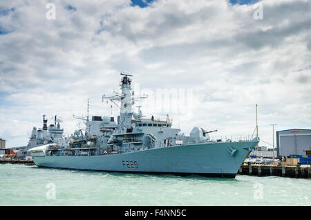 HMS Lancaster (F229) at HM Royal Navy Base Portsmouth, England during a refit in 2012.England during a refit in - Stock Photo