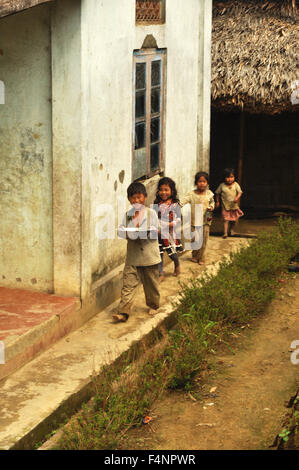 Nagaland, India - March 2012: Group of small children in village of Phuktong in Nagaland, remote region in India. - Stock Photo