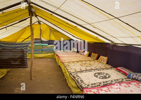 India, Himachal Pradesh, Lahaul and Spiti, Patsio, tent accommodation interior, matresses - Stock Photo