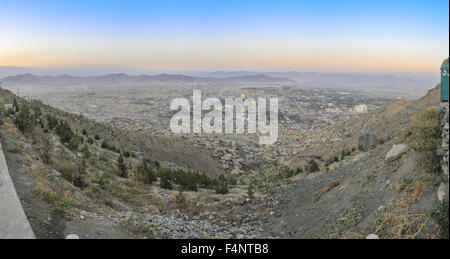 Scenic panorama of sunset in Kabul, Afghanistan - Stock Photo