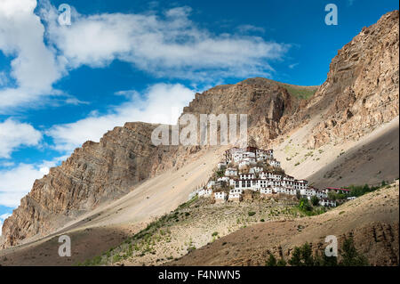 Ki Monastery Landscape with clouds - Stock Photo