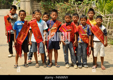 Nagaland, India - March 2012: Group of boys in Nagaland, remote region of India. Documentary editorial. - Stock Photo