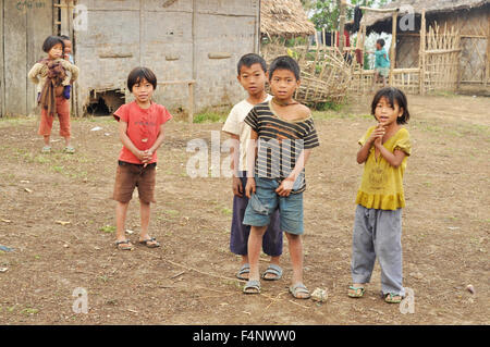 Nagaland, India - March 2012: Group of poor children in Nagaland, remote region of India. Documentary editorial. - Stock Photo
