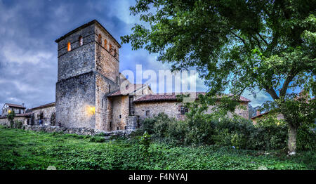 Romanesque Collegiate church of Santillana del Mar - Stock Photo