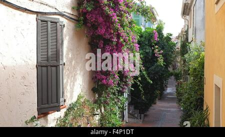 Picturesque summer street scene in Antibes, South of France. - Stock Photo