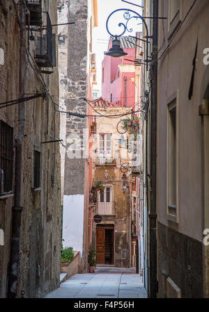 Traditional Narrow Streets Cagliari Citadel Sardinia Italy - Stock Photo