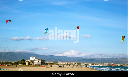 Kitesurfing On Poetto Beach Cagliari Sardinia Italy - Stock Photo
