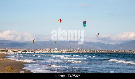 Kitesurfing On Poetto Beach Cagliari Sardinia Italy - Stock Photo
