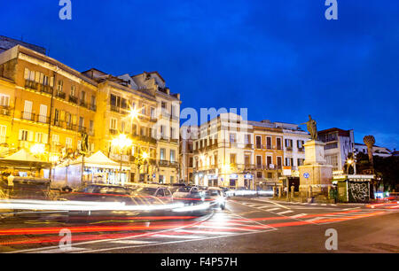 Piazza Jenne at Night with Traffic Cagliari Sardinia Italy - Stock Photo