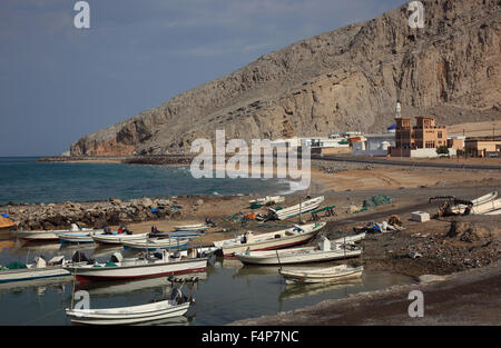Harbour of Bukha, Bucha, in the granny's niches enclave of Musandam, Oman - Stock Photo