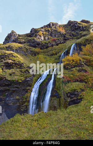 Small waterfall near the mighty Seljalandsfoss, south Iceland - Stock Photo