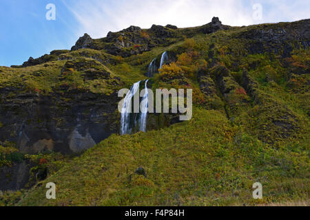 Small waterfall near the mighty Seljalandsfoss in Iceland - Stock Photo