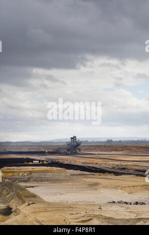 Bucket-wheel excavator in the cratered landscape of the surface mining field at Garzweiler, Germany's largest opencast - Stock Photo