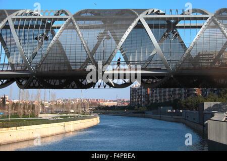 Arganzuela bridge over the Manzanares river in Madrid Rio. - Stock Photo