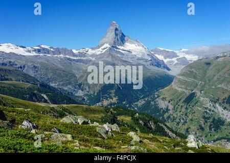 View of the famous Matterhorn peak in the Swiss Alps. July, 2015. Matterhorn, Switzerland. - Stock Photo