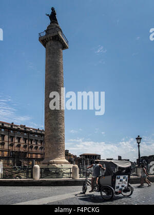 Trajan's Column (Colonna Traiana) in Rome - Stock Photo