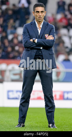 Turin, Italy. 21st Oct, 2015. Moreno Longo, head coach of youth team of Torino FC, during the Youth League match - Stock Photo