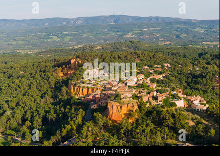 Aerial image ochre quarry of the Colorado Provençale at Roussillon, Rustrel - Stock Photo