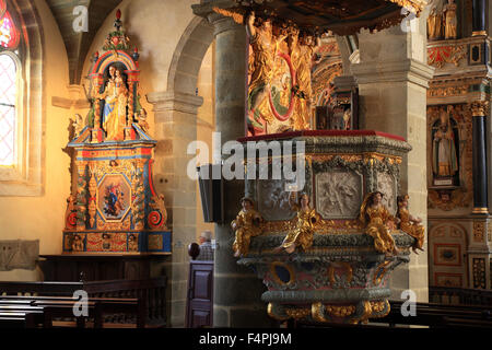 France, Brittany, Saint-Thegonnec, inside the church Notre-Dame, pulpit - Stock Photo