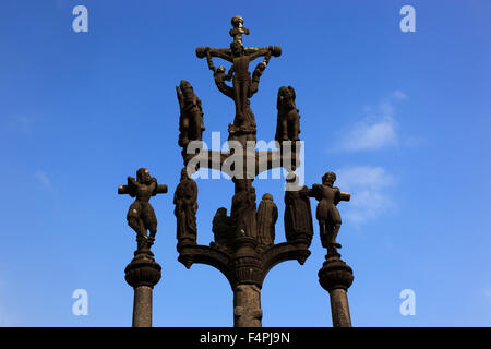France, Brittany, Saint-Thegonnec, Calvaire in walled parish, calvary - Stock Photo