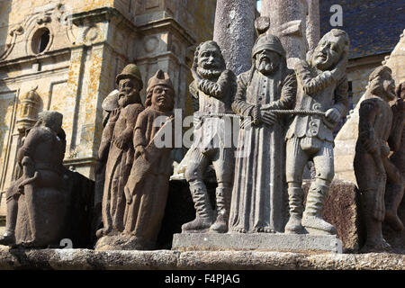 France, Brittany, Saint-Thegonnec, walled parish, church Notre-Dame and a part of the Calvary, Calvaire - Stock Photo