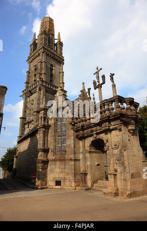 France, Brittany, Lampaul-Guimiliau, church Notre-Dame and Calvary, Calvaire in the walled parish - Stock Photo