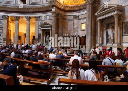 Interior view of the  Pantheon in  Piazza Della Rotunda , Rome, Italy. - Stock Photo