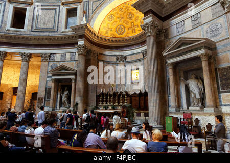 Interior view of the  Pantheon in  Piazza Della Rotunda , Rome, Italy. - Stock Photo