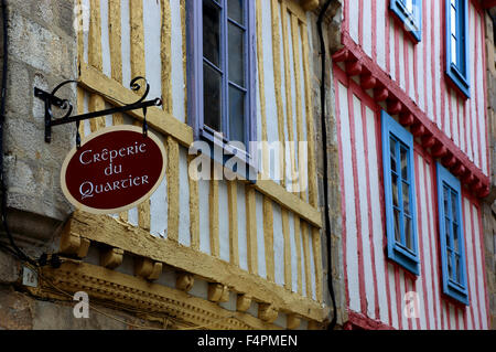 France, Brittany, Quimper, Half timbered house with in the Old Town Creperie - Stock Photo