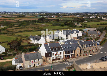 France, Brittany, am La Pointe Saint-Mathieu, view from the lighthouse to the houses, the village - Stock Photo