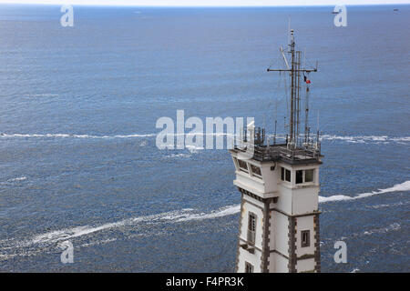 France, Brittany, am La Pointe Saint-Mathieu, Overlooking the semaphore and the sea - Stock Photo