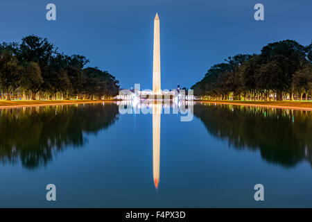 Washington monument, mirrored in the reflecting pool - Stock Photo