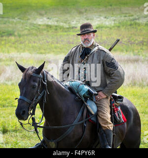 Mounted cavalry confederate soldier reenacts the Battle of Gettysburg - Stock Photo