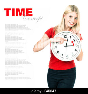 Young woman holding a clock. Time management concept. Winter time (Daylight Saving Time) - Stock Photo