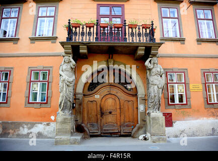 Historic Saxony House in old town of Sibiu used as a boarding school and church dormitory, Romania - Stock Photo